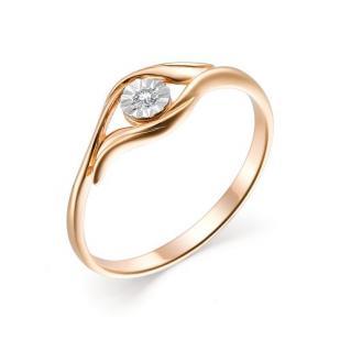 Золотое колечко с 1 бриллиантом 11968-100 фото