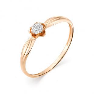 Золотое колечко с бриллиантами цветочек  фото