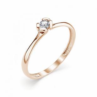 Золотое колечко с бриллиантом 0.1 карат 12806-100 фото