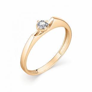 Золотое колечко с бриллиантом 0.12 карат 12871-100 фото