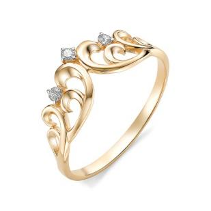 Золотое кольцо Корона с бриллиантами 12326-100
