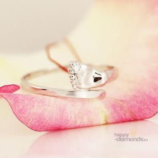 """Золотое кольцо с бриллиантом """"Пяточка"""" белое золото фото"""