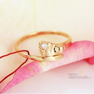 """Золотое кольцо с бриллиантом """"Пяточка"""" фото"""