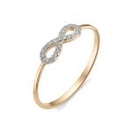 Золотое кольцо Бесконечность бриллианты