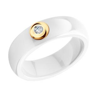 Кольцо белая керамика с бриллиантом 6015028