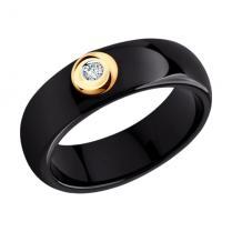 Кольцо черная керамика с бриллиантом 6015031