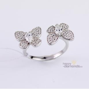 Кольцо Бабочки серебряное фото