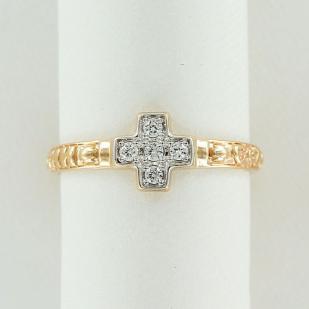 Золотое кольцо с крестиком