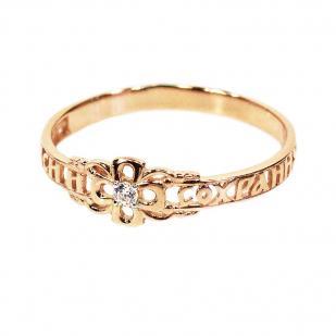 Золотое кольцо с крестиком ажурное