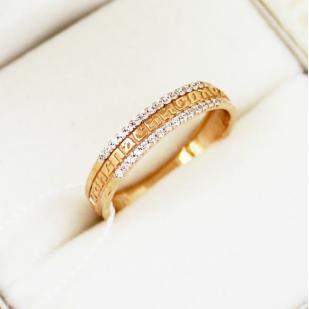 Золотое кольцо Спаси и Сохрани с фианитами 63521А
