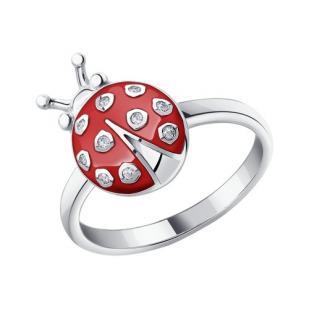 Детское серебряное кольцо Божья коровка фото