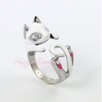 Серебряное кольцо Белый Кот 94011779