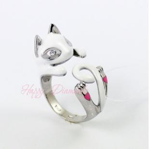 Серебряное кольцо Белый Кот 94011779 фото