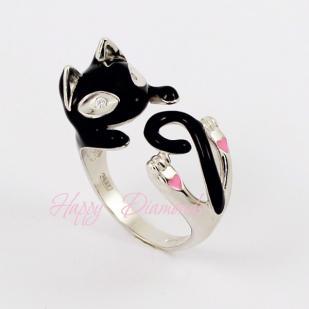 Серебряное кольцо Черный Кот 94011780 фото
