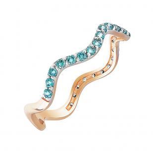 Золотое кольцо Волны с голубыми фианитами