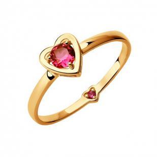 Кольцо из золота сердце с красными фианитами