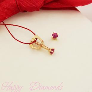 Золотые серьги гвоздики рубин 2307-103 фото