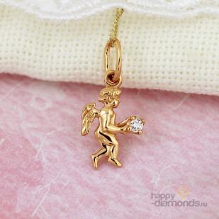 """Золотая подвеска для девочки """"Ангелочек"""""""