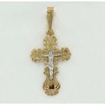 Золотой ажурный крест Аквамарин