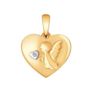 Золотая подвеска Маленький Ангел с бриллиантом фото