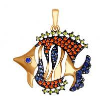 Золотая подвеска в форме рыбки 035054