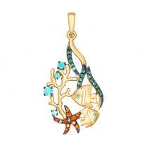 Золотая подвеска Морской риф 035136