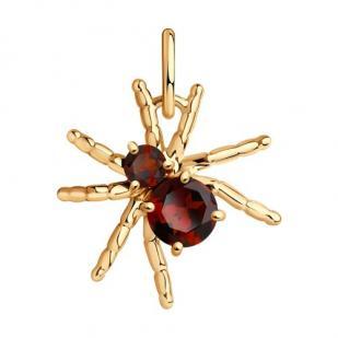 Золотая подвеска паук с гранатом фото