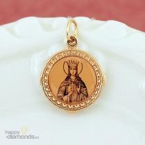 Золотая нательная икона Святая Екатерина