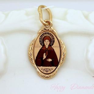Золотая нательная икона Святая Матрона