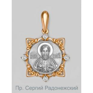 Золотая икона подвеска Сергий Радонежский