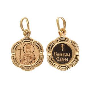 Золотая нательная икона Святая Елена фото