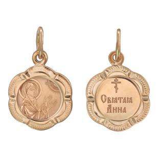 Золотая нательная икона Святая Анна фото