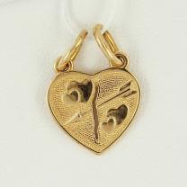 Одно сердце на двоих золотая подвеска