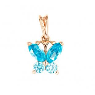 Золотая подвеска Бабочка голубая фото