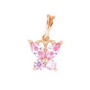Золотая подвеска Бабочка розовая