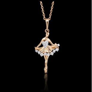 Золотая подвеска Балерина фото