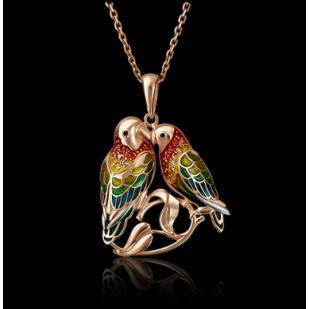 Кулон попугаи неразлучники из золота фото