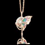 Золотая подвеска Часы с бабочкой