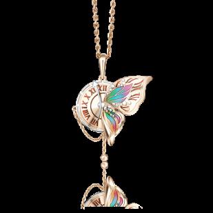 Золотая подвеска Часы с бабочкой фото