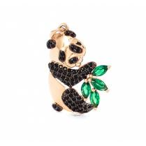 Золотая подвеска Панда с листиком