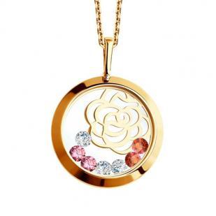 Золотая подвеска Розочка с плавающими цветными фианитами 035076