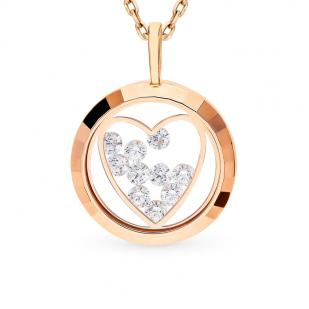 Золотая подвеска Сердце с плавающими фианитами 035189