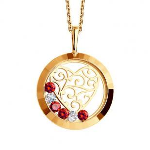 Золотая подвеска Сердце с плавающими цветными фианитами 035191