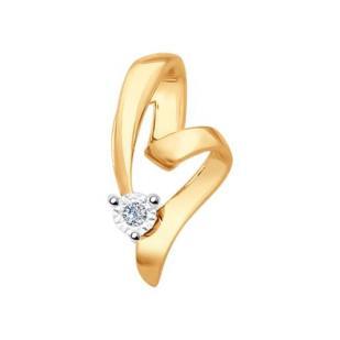 Золотое сердечко с бриллиантом 1030500