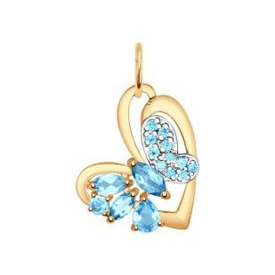 Золотая подвеска Бабочка с топазами 731503