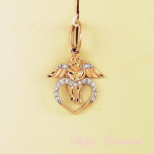 Подвеска сердце с ангелом фото
