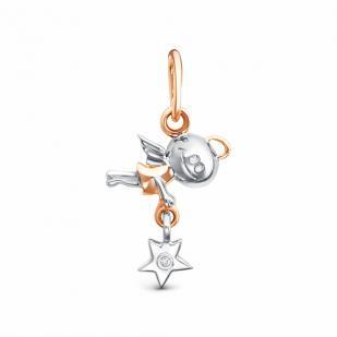 Золотая подвеска летящий ангел с бриллиантом