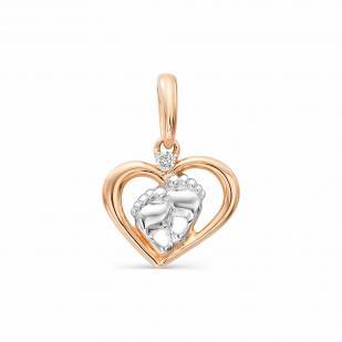 Золотое сердечко с пяточками и бриллиантом 3684-100