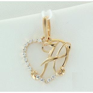 Золотая буква Н сердечко фото