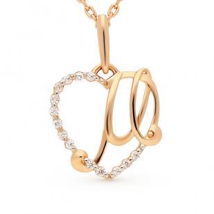 Золотая буква М сердечко